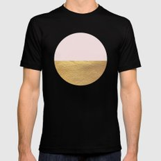 Color Blocked Gold & Rose Black Mens Fitted Tee MEDIUM
