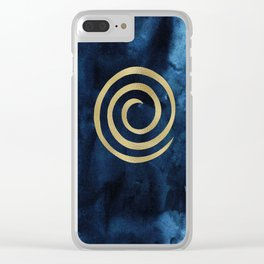 Infinity Navy Blue And Gold Abstract Modern Art Painting Clear iPhone Case
