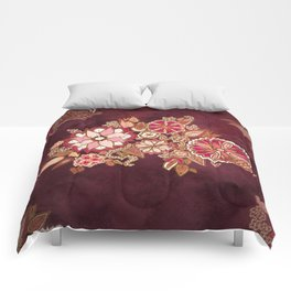 Golden Embroidery Flowers Comforters
