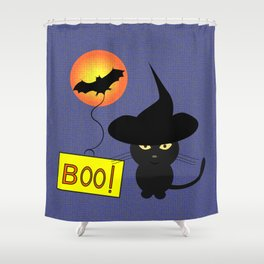Cute cat trying to be scary for Halloween Shower Curtain
