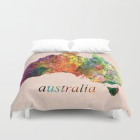 australia Duvet Covers featuring Australia  by mark ashkenazi