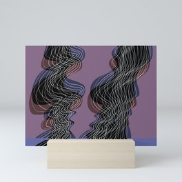 Parallel Lines No.: 02. in Purple - Shifted - White Lines Mini Art Print
