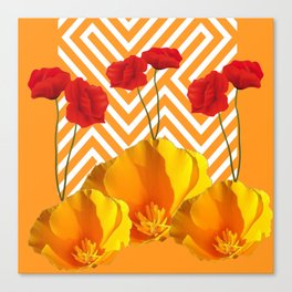 YELLOW & RED  POPPIES MODERN GOLDEN PATTERNS Canvas Print
