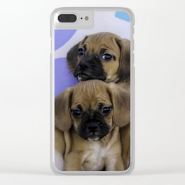 Two Puggle Puppies Cuddling in front of a Background with Hand-painted Daisy Flowers Clear iPhone Case