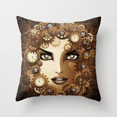 Steampunk Girl Portrait  Throw Pillow
