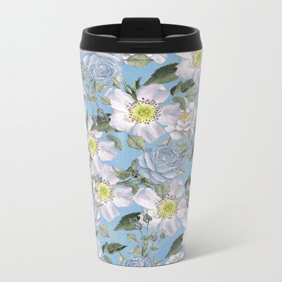 Vintage Rose Pattern Blue Metal Travel Mug