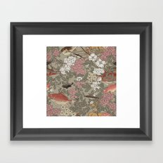 Fishes & Flowers - Seamless pattern Framed Art Print