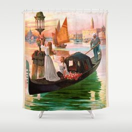 1900 Venice, Italy Travel Advertisement Poster by D'Ales Shower Curtain