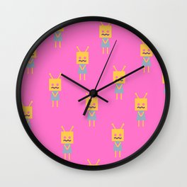 Shy Little Robot (pink) Wall Clock