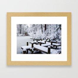 Red Bridge Duke Gardens Framed Art Print