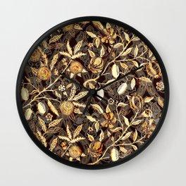 Pomegranate Pattern Gold On Dark Filigree Wall Clock