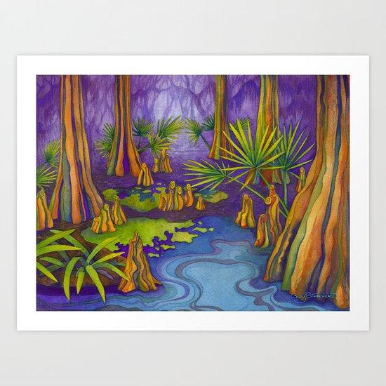 Cypress Twilight Art Print