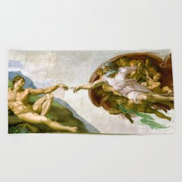 The Creation of Adam Painting by Michelangelo Sistine Chapel Beach Towel