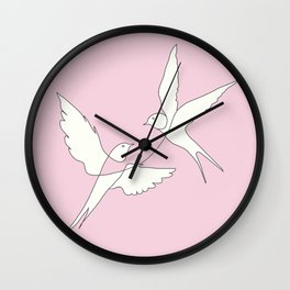 Two Swallows Line Art Wall Clock