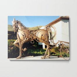 Horse & Plough by Shimon Drory Metal Print