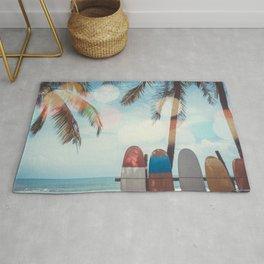 Surf Life Tropical Coastal Landscape Surfboard Scene Rug