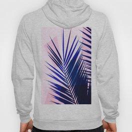 Indigo Palm Leaves on Pink Pastel Geometry #tropical #decor #lifestyle Hoody