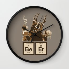 Funny chemistry bear discovered beer Wall Clock