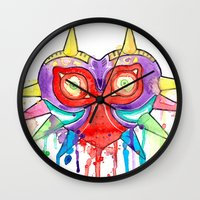 majoras mask Wall Clocks featuring Majoras Mask Splatter by ysocrazeh