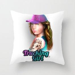 Trucking Girl Throw Pillow
