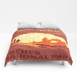 Vintage poster - Arches National Park Comforters