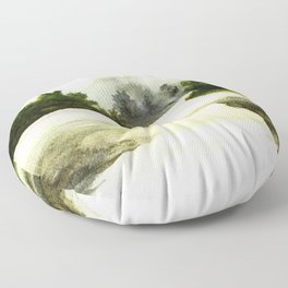 Silence, landscape painting Floor Pillow