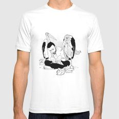 birdmaker print Mens Fitted Tee White MEDIUM