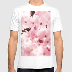 Spring Sky Flora Pattern MEDIUM Mens Fitted Tee White