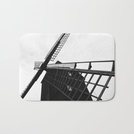 Wind Mill Architecture Black and White Photograph Bath Mat