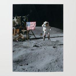 Apollo 16 - Astronaut Moon Jump Poster