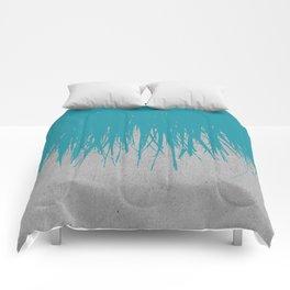 Concrete Fringe Teal Comforters