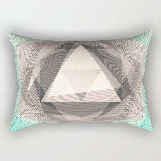 Jewel Lines 2 - Jade & Charcoal Rectangular Pillow