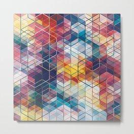 Cuben Curved #5 Geometric Art Print. Metal Print