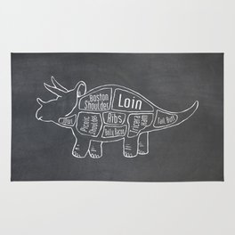 Triceratops Dinosaur (A.K.A Three Horn Face) Butcher Meat Diagram Rug