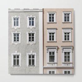 Gray and Beige European Buildings Metal Print