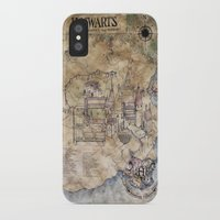 hogwarts iPhone & iPod Cases featuring Hogwarts Map by Sarah Paterson