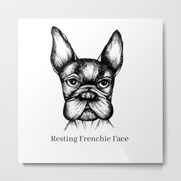 Resting Frenchie Face Metal Print