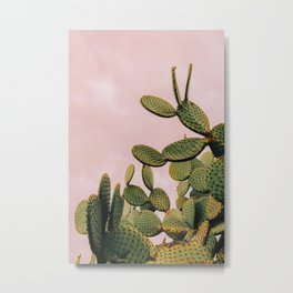 Cactus on Pink Sky Metal Print