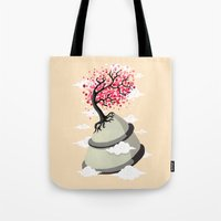 cherry blossom Tote Bags featuring Cherry Blossom by Freeminds