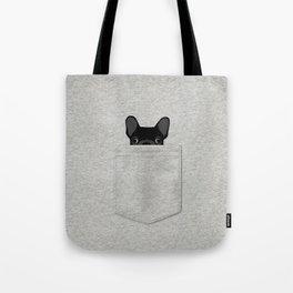 Pocket French Bulldog - Black Tote Bag
