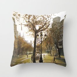 Sunrise in Paseo de Gracia, Barcelona Throw Pillow