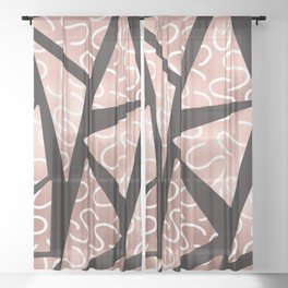 Modern Artsy Rose Gold Black Squiggly Triangle Geo Sheer Curtain