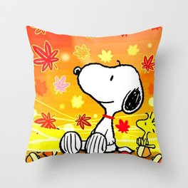 Snoopy saw the sunset Throw Pillow