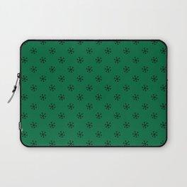 Black on Cadmium Green Snowflakes Laptop Sleeve
