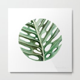 Circular Monstera Leaf Painting Metal Print
