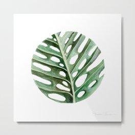 Circular Monstera Leaf Painting Metal Print