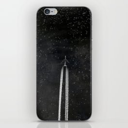 Star Flight - Airplane crossing a starry sky iPhone Skin