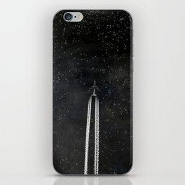 Star Flight - Airplane crossing a starry sky iPhone Skin