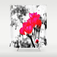 hot pink Shower Curtains featuring Hot Pink Flowers  by 2sweet4words Designs