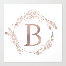 Letter B Rose Gold Pink Initial Monogram Canvas Print